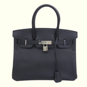 Genuine HERMES Hermes Epson Birkin 30 Handbag Black Silver Hardware □ M stamped leather