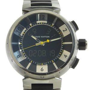 Louis Vuitton Quartz Stainless Steel Men's Watch Tambour In Black Men's Quartz