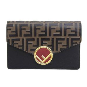 Genuine FENDI Fendi Kanaiev leather chain wallet black brown 8BS006