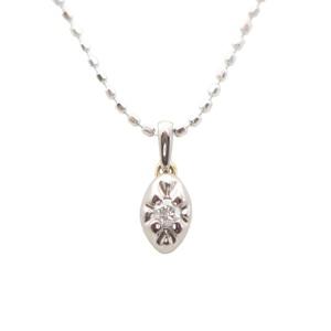 アガット(Agete) K18ホワイトゴールド(K18WG) ダイヤモンド レディース ペンダント カラット/0.03 (ホワイトゴールド(WG))