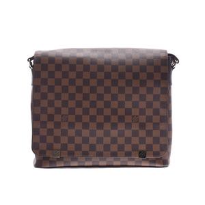 Louis Vuitton Damier District MM NM Brown N41032 Men Women Genuine Leather Shoulder Bag AB Rank LOUIS VUITTON Used Ginkura