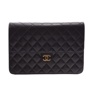 CHANEL MATRASE chain shoulder bag push lock black G metal fittings lady's lambskin A rank box gala used silver