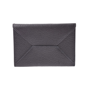 Hermes Envelope MM Black □ L Stamp Men's Women's Shave Card Case A Rank Good Condition HERMES Used Ginzo