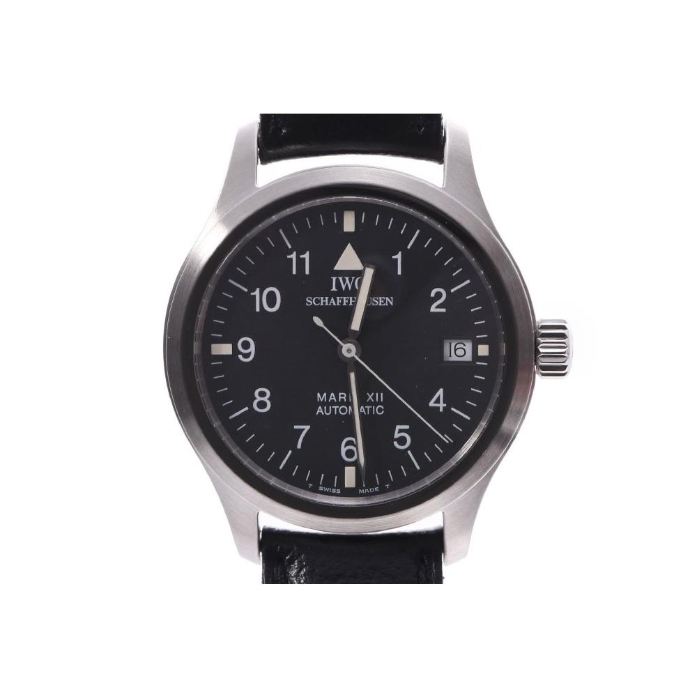 IWC マーク? 黒文字盤 IW324101 メンズ SS/革 自動巻 腕時計 Aランク 美品 中古 銀蔵