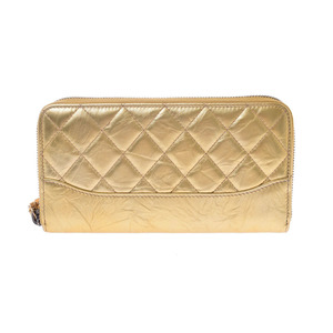 Chanel Round Fastener Wallet Gold Women's Leather Long