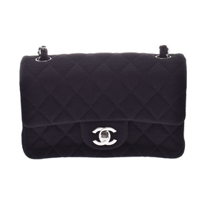 Chanel Minima Thrasse chain shoulder bag black SV metal fittings lady's jersey A rank beautiful goods CHANEL box Gala used silver warehouse
