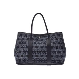 Hermes Garden Party PM Black / Grey □ K Stamp Ladies Toilesaw Ash Handbag B Rank HERMES Used Ginzo