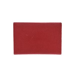 Hermes Card Case Rouge Kazak SV metal fittings □ P stamp Ladies Sable B rank HERMES box Used Ginzo