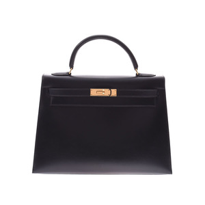 Hermes Kelly 32 black G metal fittings ○ Z stamped ladies BOX calf outer stitching handbag A rank beautiful goods HERMES used silver warehouse
