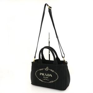 Prada black canvas kanapa 2way bag handbag shoulder diagonally ladies