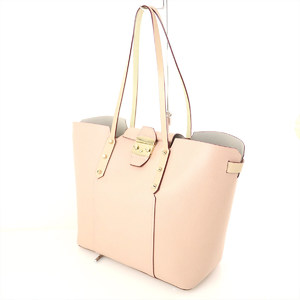 Furla FURLA pink beige PVC tote bag metal fittings opening and closing gold lady's