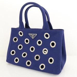 Prada Mini Kanapa Grommet Blue Canvas Tote Bag Punching Design Ladies