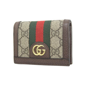 GUCCI Gucci GG pattern Sherry line logo metal fittings two-fold wallet PVC leather brown compact 20190726