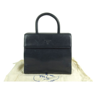PRADA logo embossed handbag leather navy blue 20190726