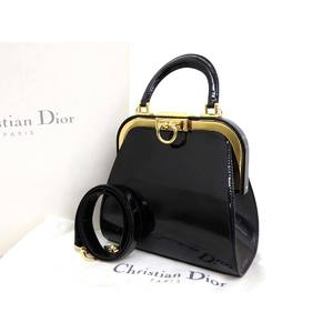 Christian Dior Vintage Ladies 2Way Handbag Shoulder Enamel Black 20190731