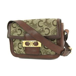 CELINE Celine Vintage Carriage Pattern Macadam Hardware Shoulder Bag Jacquard Leather Brown 20190726