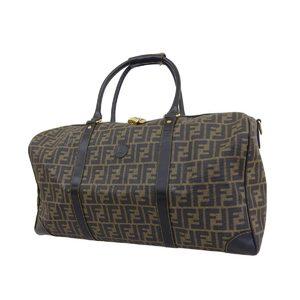 FENDI Fendi Zucca Pattern Boston Bag Handbag PVC Leather Black Brown 20190726