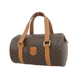 CELINE Celine Macadam Pattern Vintage Drum Bag PVC Leather Brown Hand Mini Boston 20190809