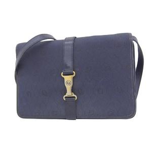 Christian Dior vintage logo gold metal shoulder bag canvas leather navy blue 20190628