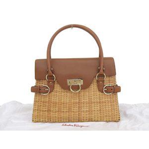 Salvatore Ferragamo Gantini metal fittings Basket Handbag Leather Rattan Brown Natural 20190726