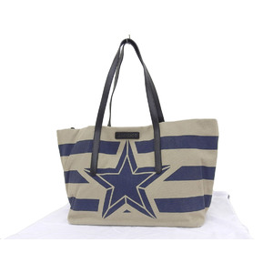 JIMMY CHOO SOFIA star border tote bag canvas beige blue 20190809