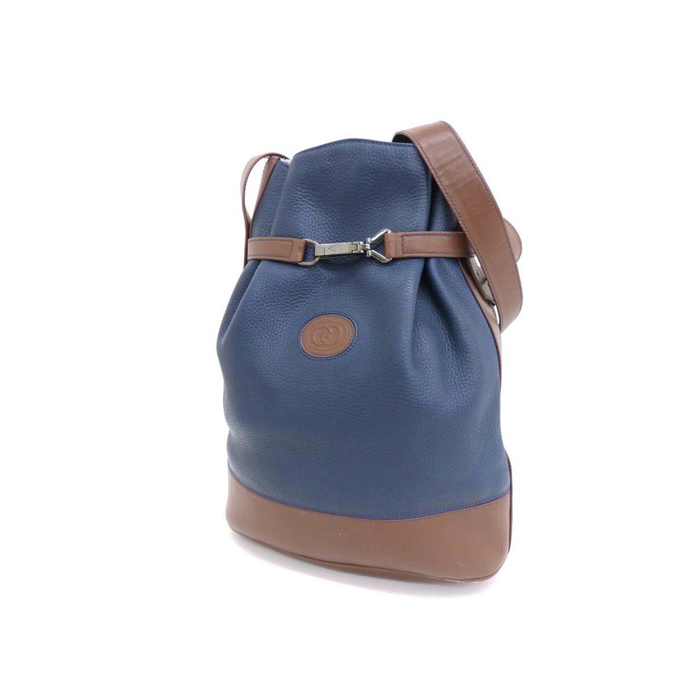 GUCCI Drawstring Vintage Logo Shoulder Bag Leather Brown × Navy 20190809