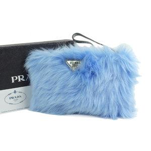 PRADA Prada ECO PELLICCIA triangle logo pouch party bag clutch eco fur leather blue 20190726
