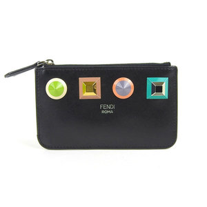 FENDI Multi-Studs Leather Coin Case with Keyring Black 8AP151