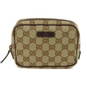 GUCCI Gucci GG Canvas Cosmetic Pouch Beige 106647