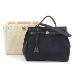 HERMES Hermes Ale Bag PM 2WAY Shoulder Handbag Toile Ofche GM Black Natural □ G Stamp