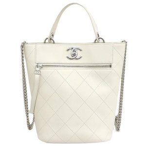 CHANEL Chanel 19SS Calfskin Bucket Back 2WAY Chain Shoulder Bag Handbag White AS0577