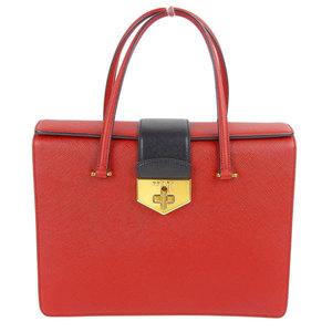 PRADA Prada Saffiano Twin Bag Handbag Red White Ladies B2725C