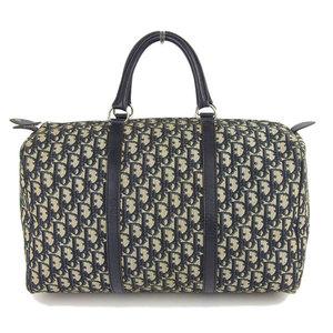 Christian Dior Jor Oblique Jacquard Logo Boston Bag Navy
