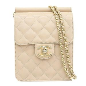 CHANEL Matrasse chain clutch shoulder bag beige gold