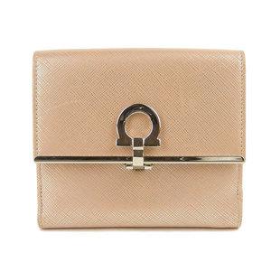 SALVATORE FERRAGAMO Salvatore Ferragamo Ganchini clip W hook two-fold wallet pink beige AQ-22 4639