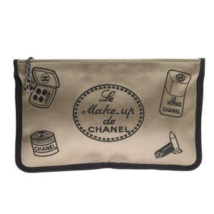Chanel CHANEL makeup pouch silk satin bronze × black silver metal fittings 9th * ETC
