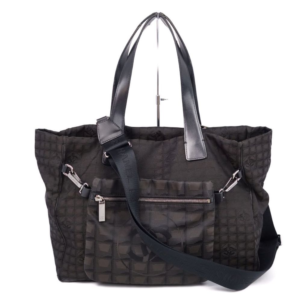 Chanel CHANEL New Travel Line 2way Tote MM Bag with Pouch Dark Brown / Black Ladies Made in Italy