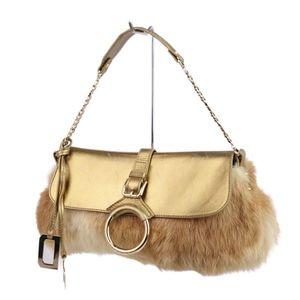 Dolce & Gabbana DOLCE GABBANA Ladies Rabbit Fur Leather Handbag Gold Made in Italy Bag Doluga