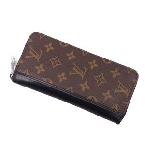 Louis Vuitton LOUIS VUITTON Monogram Macassar Zippy Wallet Vertical Brown / Black Men's Round Zipper Long