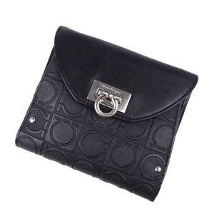 Salvatore Ferragamo Ladies Gantini Bi-fold Leather Wallet Black Genuine Total Pattern