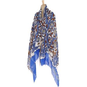 Louis Vuitton LOUIS VUITTON cashmere silk large format stall shawl muffler etor blue / brown white ladies made in Italy domestic regular goods