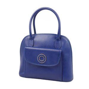 Celine CELINE Made in Italy Circle Logo Handbag Tote Ladies Blue Vintage