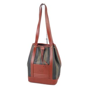 Fendi FENDI Italian Pecan Ladies Drawstring Shoulder Bag PVC Leather Brown Khaki 鞄 Vintage