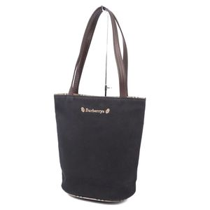 Burberry Burberrys Cotton Handbag Tote Bag Navy Black Womens