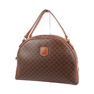 Celine CELINE Made in Italy Macadam Pattern Handbag Ladies PVC Leather Brown / Camel Vintage