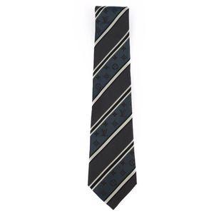 Louis Vuitton LOUIS VUITTON Made in Italy 100% Silk Men's Monogram Tie Gray