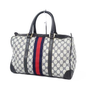 Old Gucci GUCCI Made in Italy Shelly Line GG Pattern Boston Bag Handbag Navy Vintage