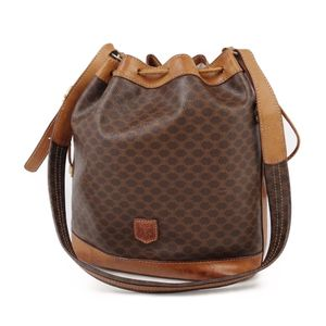 Celine CELINE Macadam pattern drawstring shoulder bag PVC leather brown / camel ladies diagonally vintage