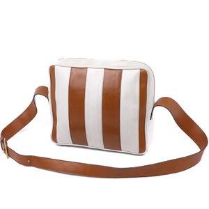 Old Celine CELINE Leather Stripe Shoulder Bag White / Brown Italian Ladies Vintage