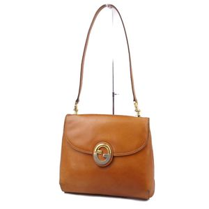 Old Gucci GUCCI Italy made ladies G metal shoulder bag leather brown vintage